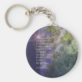 Serenity Prayer Floral Keychain