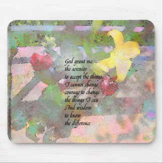 Serenity Prayer Floral Mouse Pad