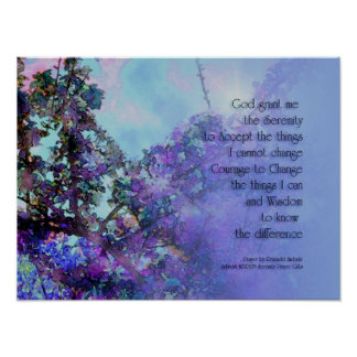 Serenity Prayer Floral Poster