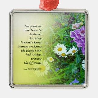 Serenity Prayer Flower Garden Metal Ornament