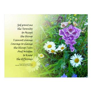 Serenity Prayer Flower Garden Postcard