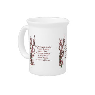 Serenity Prayer Flowering Tree Inspirational Beverage Pitcher