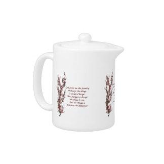 Serenity Prayer Flowering Tree Inspirational Teapot
