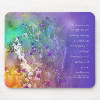 Serenity Prayer Flowers and Tree Mousepad