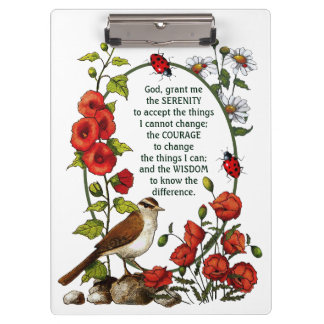 Serenity Prayer Flowers, Bird, Nature Art, Ladybug Clipboard