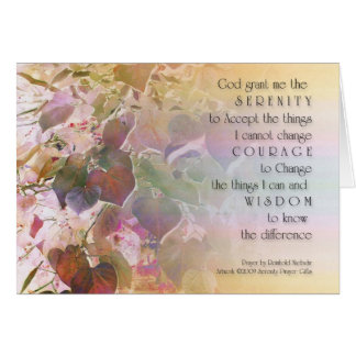 Serenity Prayer Forest Pansy Redbud Leaves Greeting Card