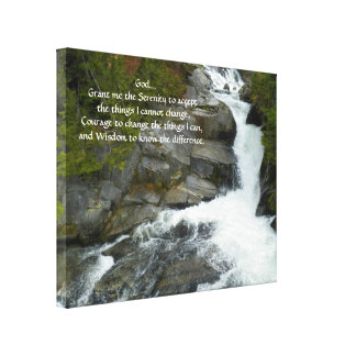 Serenity Prayer Forest Waterfall Photo Canvas Print