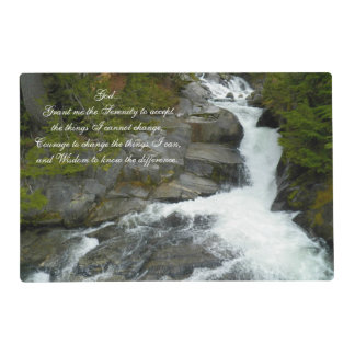 Serenity Prayer Forest Waterfall Photo Placemat
