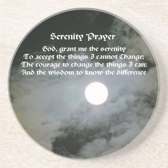 Serenity Prayer Full Moon Inspirational Coaster