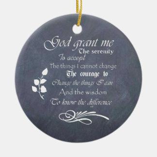 Serenity prayer gift chalkboard retro Double-Sided ceramic round christmas ornament