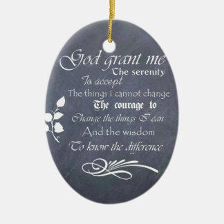 Serenity prayer gift chalkboard retro Double-Sided oval ceramic christmas ornament