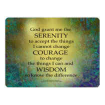 Serenity Prayer Gold on Blue-Green Invitation
