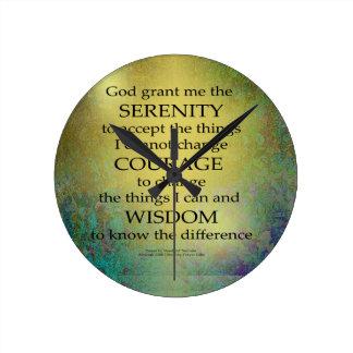 Serenity Prayer Gold on Blue-Green Round Clock