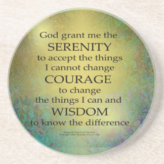 Serenity Prayer Gold on Blue-Green Sandstone Coaster