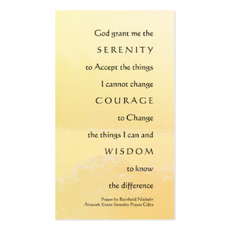 Serenity Prayer Golden Shores Profile Card Business Card