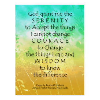 Serenity Prayer Green & Gold Landscape Postcards