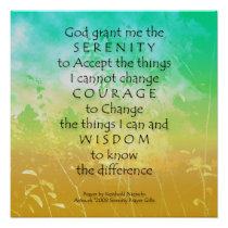 Serenity Prayer Green & Gold Landscape Print