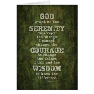 Serenity Prayer: Grunge, Camouflage, Recovery Card
