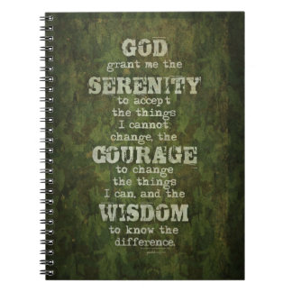 Serenity Prayer: Grunge, Camouflage, Recovery Notebook