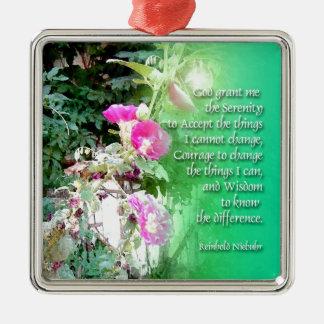 Serenity Prayer Hollyhocks Metal Ornament