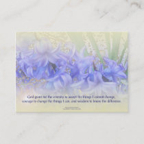 Serenity Prayer Hyacinths Business Card
