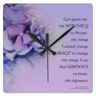 Serenity Prayer Hydrangeas Harmony Lavender Square Wall Clock