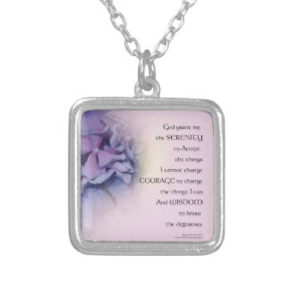 Serenity Prayer Hydrangeas Harmony Purple Pink Silver Plated Necklace