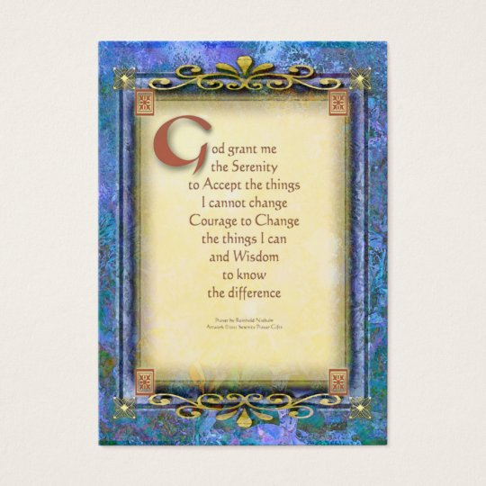 Serenity Prayer Illuminated 3 Business Card