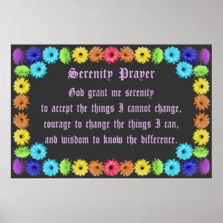 Serenity Prayer in a Rainbow Flowerl Border Print