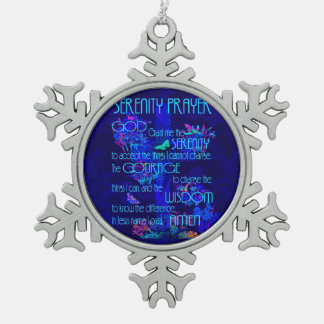 Serenity Prayer in Blue Snowflake Pewter Christmas Ornament