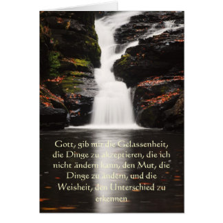 Serenity Prayer in German, Peaceful Waterfall Card
