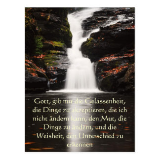 Serenity Prayer in German, Waterfall Postcard