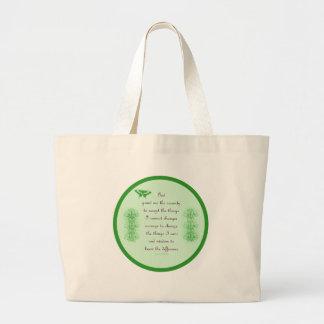 Serenity Prayer In Green Jumbo Tote Bag