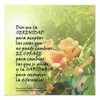 "Serenity Prayer in Spanish Invitation 5.25"" Square Invitation Card"
