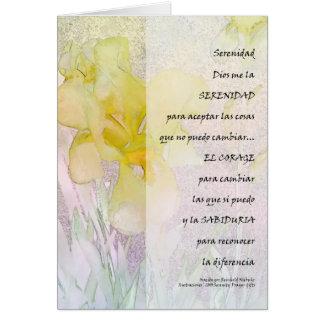 Serenity Prayer in Spanish Yellow Iris Card