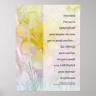 Serenity Prayer in Spanish Yellow Iris Print