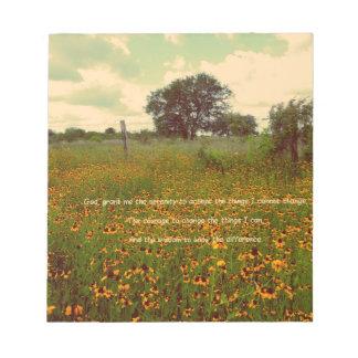 Serenity Prayer in Wildflowers Memo Pads