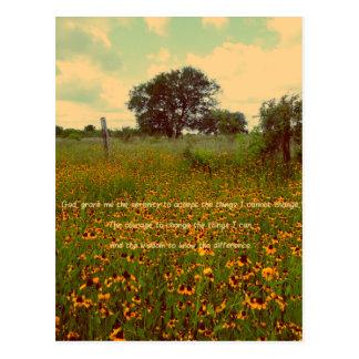 Serenity Prayer in Wildflowers Postcard