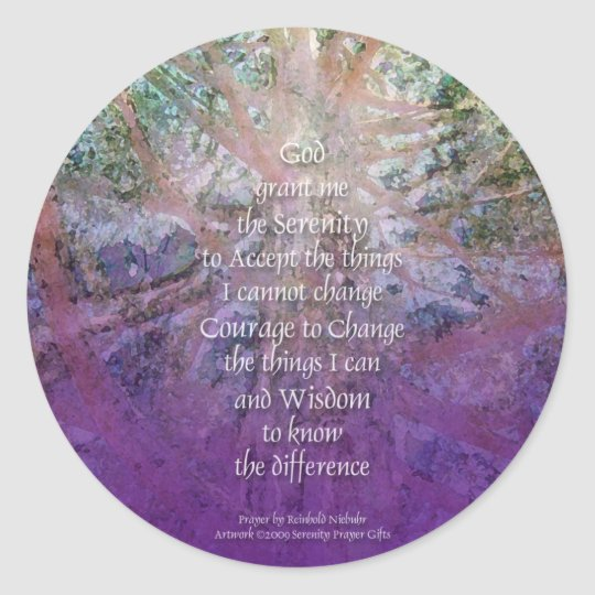 Serenity Prayer Incense Cedar Classic Round Sticker