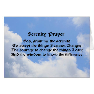 Serenity Prayer Inspirational Note Card Blue Sky