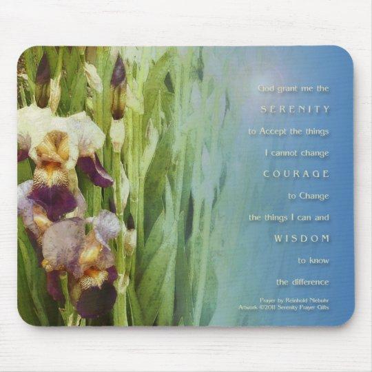 Serenity Prayer Iris Garden Mouse Pad