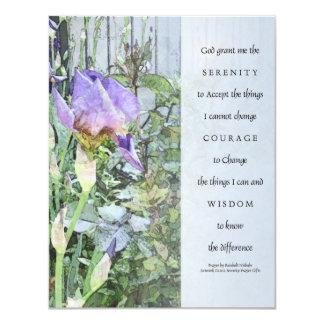"Serenity Prayer Irises and Fence Invitation 4.25"" X 5.5"" Invitation Card"