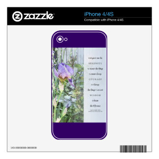Serenity Prayer Irises and Fence Light Blue Decal For iPhone 4