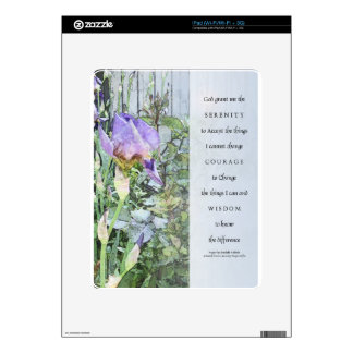 Serenity Prayer Irises and Fence Light Blue Decals For The iPad
