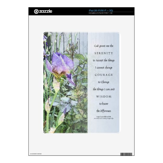 Serenity Prayer Irises and Fence Light Blue Skins For The iPad