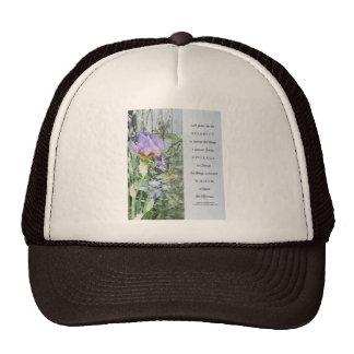 Serenity Prayer Irises and Fence Light Blue Trucker Hat