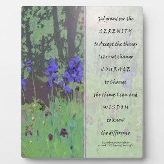 Serenity Prayer Irises and Trees Plaque