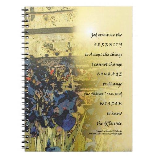 Serenity Prayer Irises & Fence Notebook