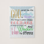 """Serenity Prayer Jigsaw Puzzle<br><div class=""""desc"""">Usually seen with praying hands. &quot;God grant me the serenity To accept the things I cannot change; Courage to change the things I can; And wisdom to know the difference.&quot;</div>"""