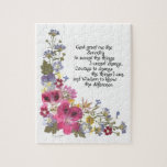 """Serenity Prayer Jigsaw Puzzle<br><div class=""""desc"""">Timeless and true Serenity Prayer presented in pressed flowers and calligraphy by Simone Sheppard.  Colorful arrangement of mini asters,  viola,  geranium,  verbena,  baby blue eyes and more,  all from Simone&#39;s California garden.  Wonderful choice for anyone,  going through tough times or not,  or involved in any 12 step program.</div>"""